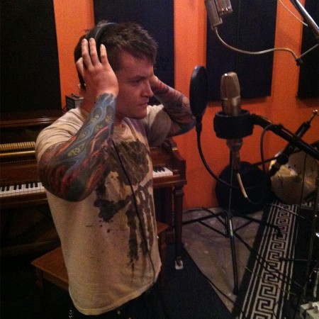 Chris recording guest vocals for the EP